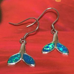 Sterling Silver Opal Whale Tail Dangle Earring